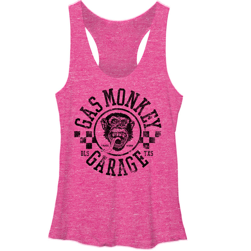 Gas Monkey Garage Rally Pink Heather Juniors Tank Top