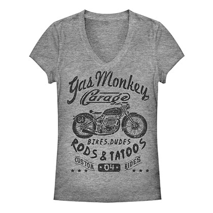 Gas Monkey Garage Biker Babe Gray Juniors T-Shirt
