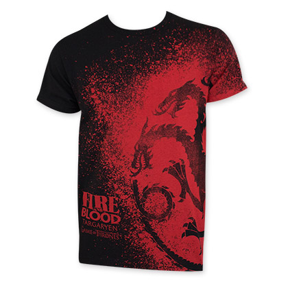 Game Of Thrones Fire Blood Dragon Splatter Tee Shirt