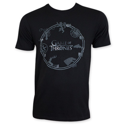 Game Of Thrones Men's Black Circle Logo Tee Shirt