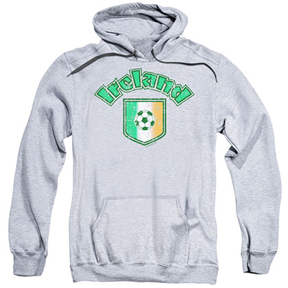 St. Patrick's Day Ireland With Soccer Flag Gray Pullover Hoodie