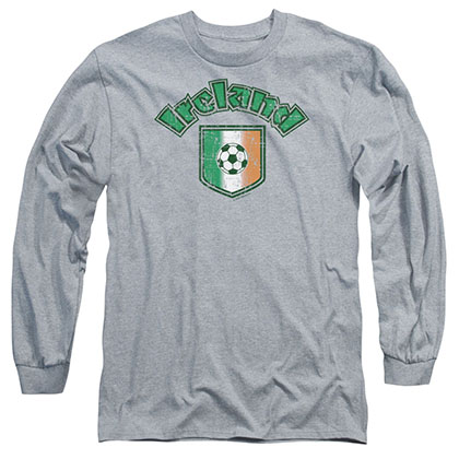 St. Patrick's Day Ireland With Soccer Flag Gray Long Sleeve T-Shirt