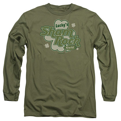 St. Patrick's Day Lucky's Shamrock Cafe Green Long Sleeve T-Shirt