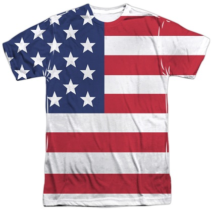 American Flag Patriotic Front and Back Print Tshirt