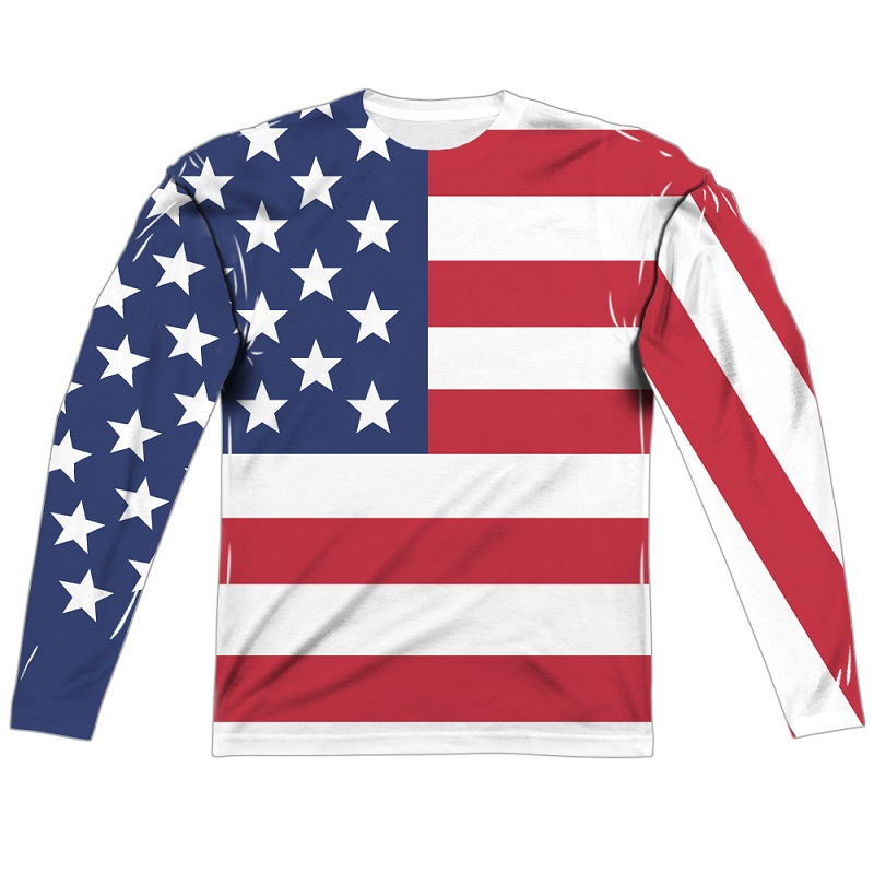 American Flag Patriotic Long Sleeve Front and Back Print Shirt