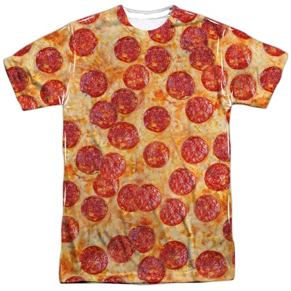 Slice of Pepperoni Pizza Front and Back Print Tshirt