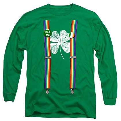 St. Patrick's Day Long Sleeve Lucky Suspenders Green Shirt