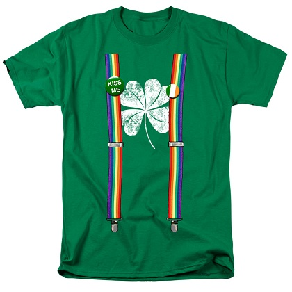 St. Patrick's Day Lucky Suspenders Green Tshirt