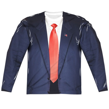 Presidential Suit and Tie Long Sleeve Costume Shirt