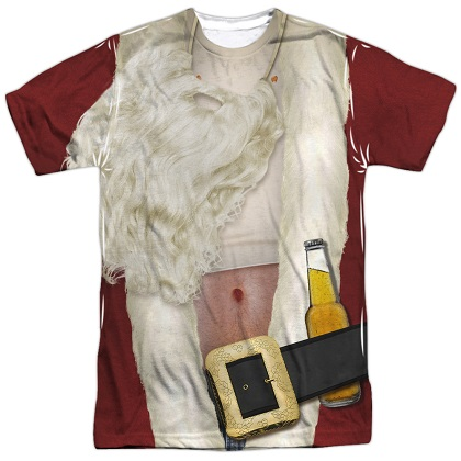 Bad Santa Drunken Christmas Costume Tshirt