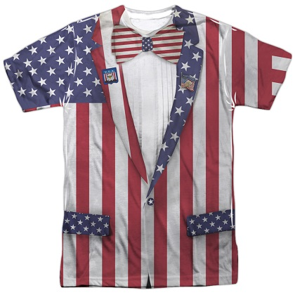 Patriotic Uncle Sam Suit Front and Back Print American Flag Tshirt