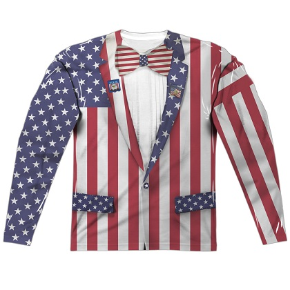 Patriotic Uncle Sam Suit American Flag Font and Back Print Long Sleeve Shirt