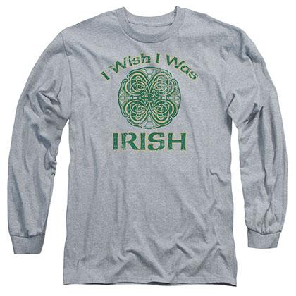 St. Patrick's Day Irish Wish Gray Long Sleeve T-Shirt