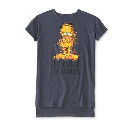 Garfield I'd Rather Be Sleeping Women's Dark Grey Pajamas Night Shirt