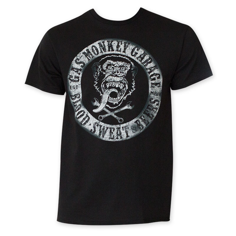 Gas monkey men 39 s black blood sweat and beers t shirt for T shirts that don t show sweat