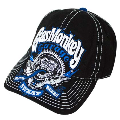 Gas Monkey Garage Blue Puffy Logo Men's Black Hat