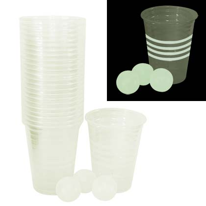 Beer Pong Glow In The Dark Cup And Balls Set Of 24