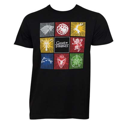 Game Of Thrones House Squares Men's Black T-Shirt