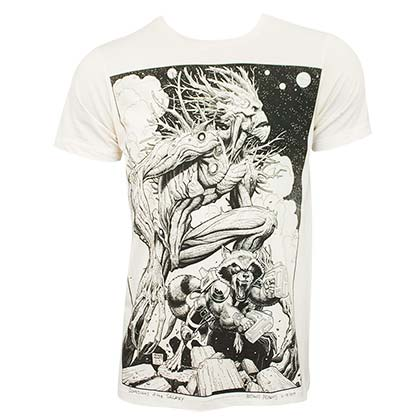 Guardians of the Galaxy Groot Rocket Art Men's Off-White T-Shirt