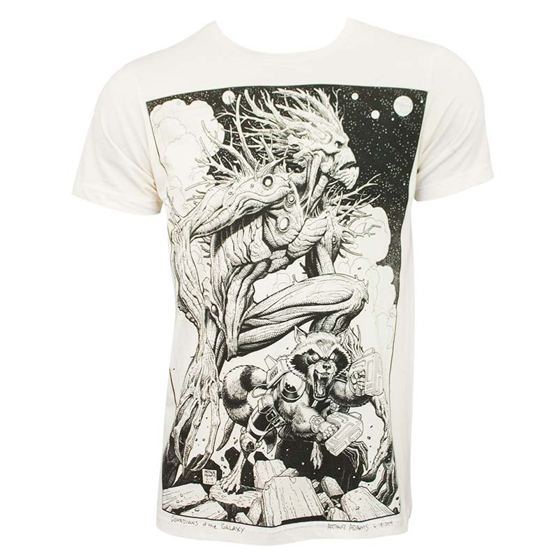 Guardians of the Galaxy Groot Rocket Art Men's Off-White Tee Shirt