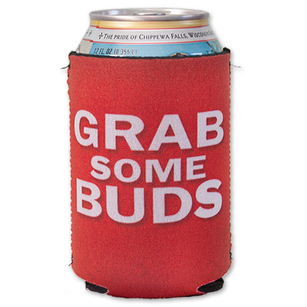 Red Budweiser Grab Some Buds Beer Can Cooler