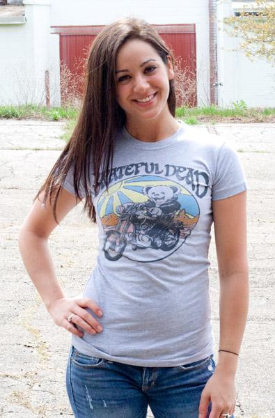 Grateful Dead Motorcycle Bear Grey Juniors Graphic Tee Shirt