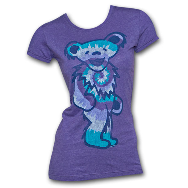Grateful Dead Tie Dye Bear Purple Ladies Graphic T Shirt