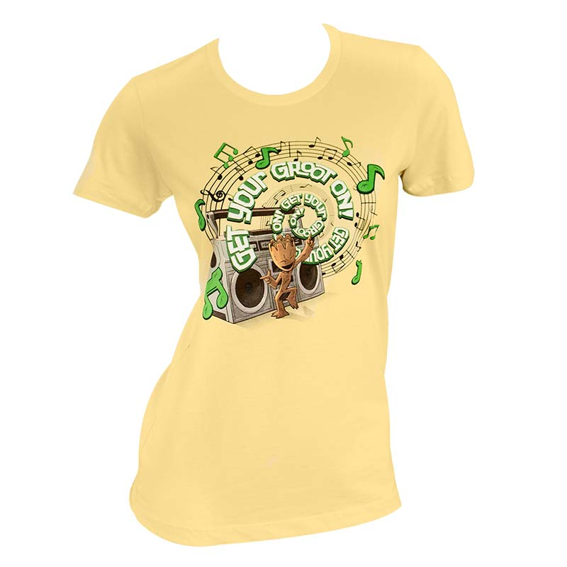 23a9792dc Guardians Of The Galaxy Women s Yellow Get Your Groot T-Shirt