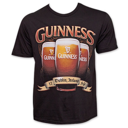 Guinness Triple Pint Design Tee Shirt - Black