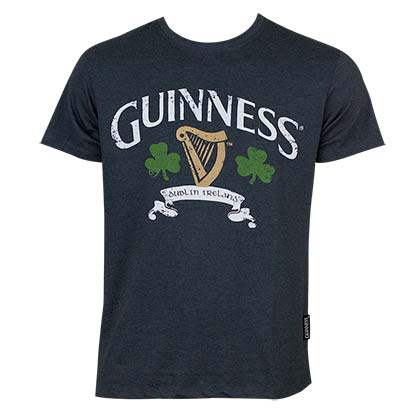 Guinness Men's Navy Blue Distressed Clover T-Shirt