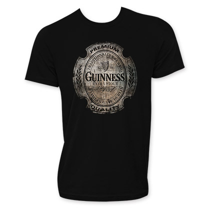 Guinness Extra Stout Men's Black Distressed Label T-Shirt