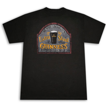 Guinness Extra Stout Sign Black T Shirt
