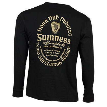 Guinness Men's Black Gaelic Label Long Sleeve T-Shirt