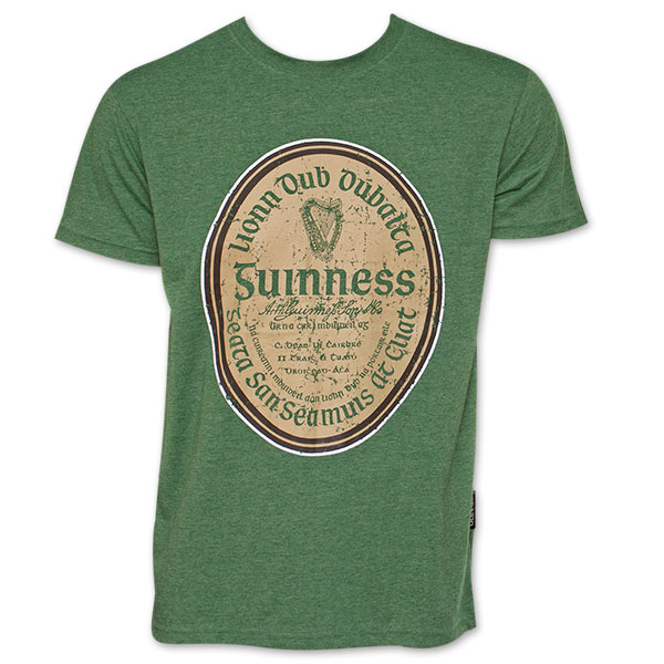 Guinness Beer Gaelic Label Heather T-Shirt - Green