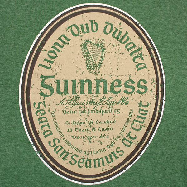 Guinness Beer Gaelic Label Heather Tee - Green