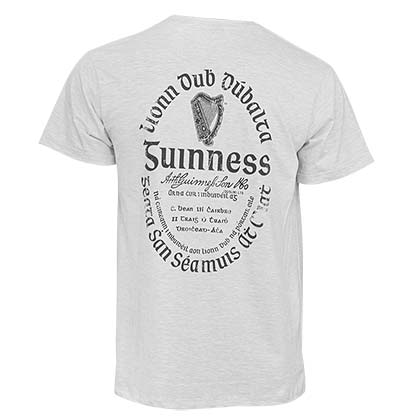Guinness Light Grey Heathered Gaelic Label T-Shirt