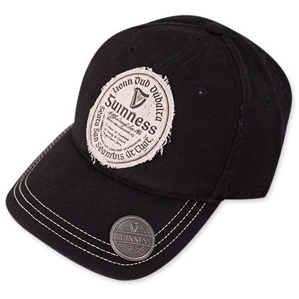 Guinness Black Gaelic Label Beer Opener Hat