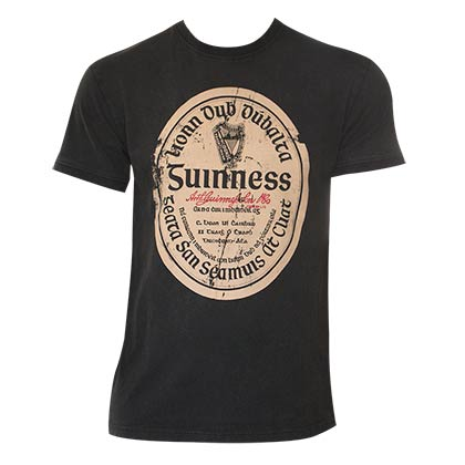 Guinness Distressed Gaelic Label Tee Shirt