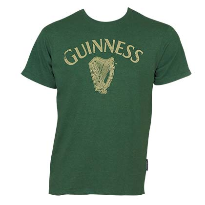 Guinness Men's Green Distressed Harp T-Shirt