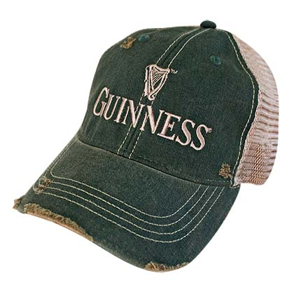 Guinness Distressed Retro Brand Men's Green Trucker Hat