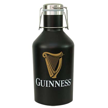 Guinness Logo Black Stainless Steel Growler