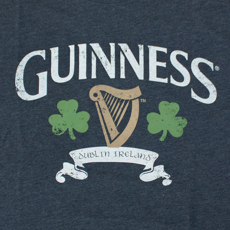 Guinness Men's Navy Distressed Logo Tee Shirt