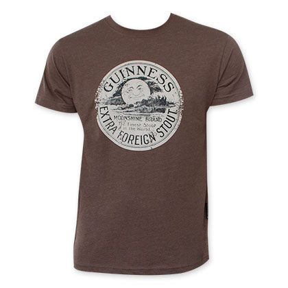Guinness Men's Brown Distressed Moon T-Shirt