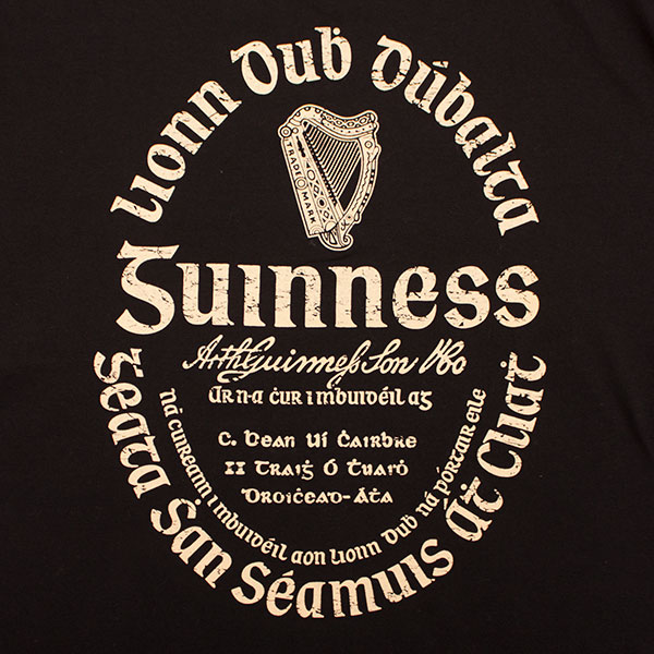 Guinness beer irish gaelic label t shirt for Guinness beer in ireland