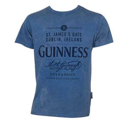 Guinness Men's Blue Distressed Logo T-Shirt