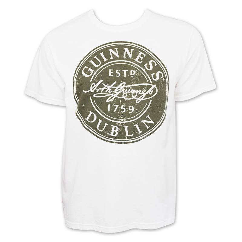 Guinness Men's White Bottle Cap T-Shirt