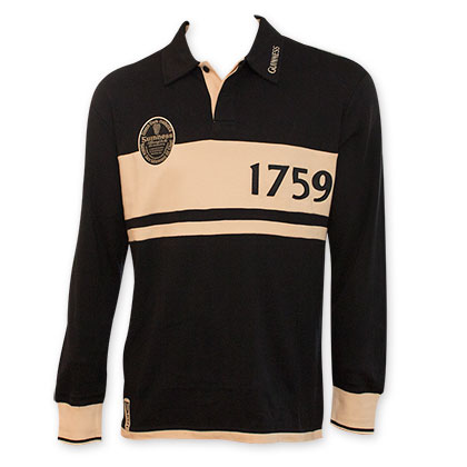 Guinness Long Sleeve Black And Cream Polo Shirt