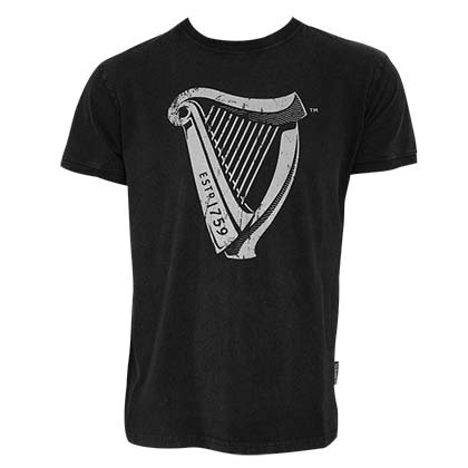 Guinness Men's Black Distressed Harp T-Shirt