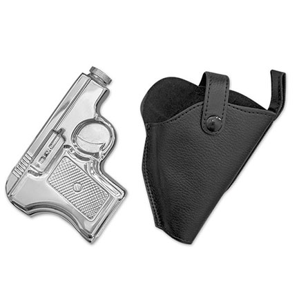 Stainless 6 oz. Pistol Flask with Holster