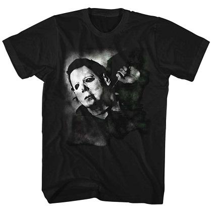 Halloween Michael Myers Needle Cracked Black Tshirt